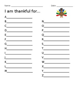I Am Thankful For (A-Z) Thanksgiving Writing Activity