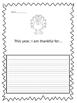 I Am Thankful For Thanksgiving Activity