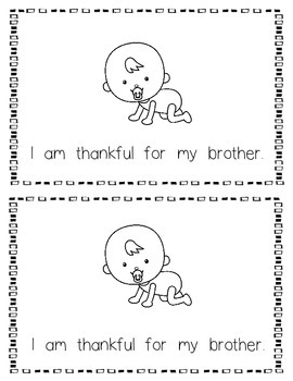 I Am Thankful For My Family Emergent Reader