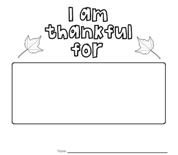 I Am Thankful For... Printable For Youngsters