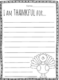 I Am Thankful For - Thanksgiving Writing