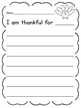 I Am Thankful For Thanksgiving Writing Prompt Sheet