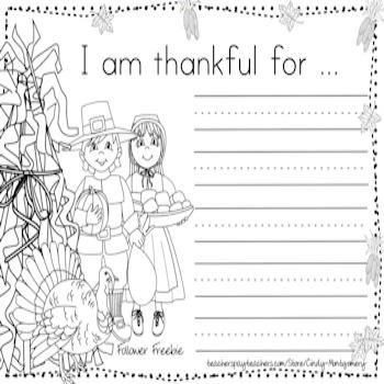 I Am Thankful For ... Writing Activity Follower Freebie