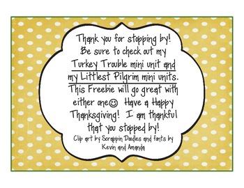 I Am Thankful For...Writing Activity Freebie