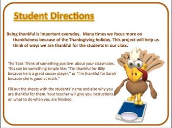 """I Am Thankful"" November Class Project on thankfulness"