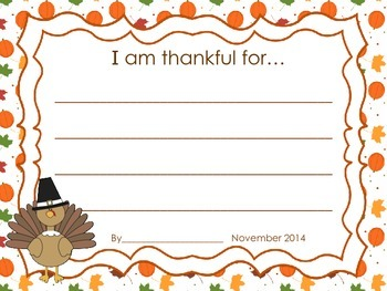 I Am Thankful-Thanksgiving Writing Pack