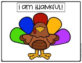 I Am Thankful Turkey Craft/ Placemat, Cards, and Class Book