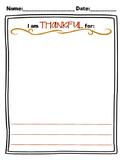 I Am Thankful Worksheet