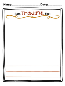 I Am Thankful Worksheet