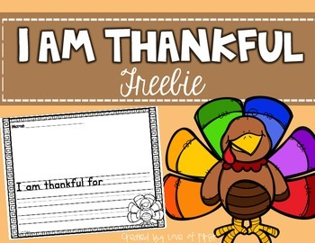 I Am Thankful Writing Freebie