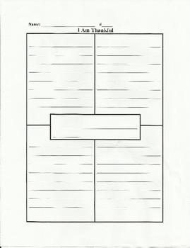I Am Thankful Writing: Graphic Organizers + Writing Paper