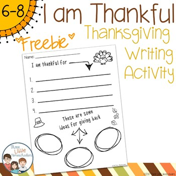 I Am Thankful and Giving Back Worksheet