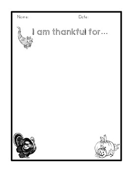 I Am Thankful writing prompt with differentiated pages