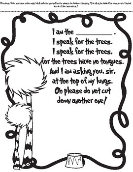 I Am The Lorax Fill-It-In Poem