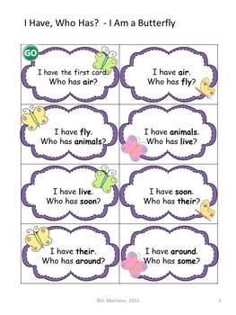 "I Am a Butterfly ""I HAVE, WHO HAS?"" Sight Word Practice for Harcourt Trophies"