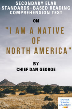 I Am a Native of North America Nonfiction by Chief Dan George Reading Test