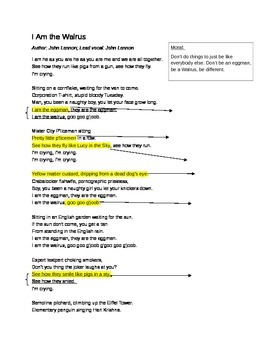 """I Am the Walrus"" by the Beatles Lyrics Analysis for Music Like Poetry"