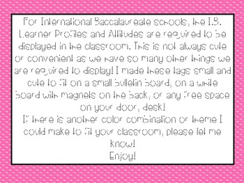 I.B. Learner Profiles and Attitudes for International Baccalaureate Schools