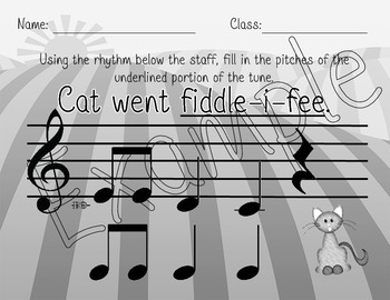 I Bought Me a Cat Rhythmic and Melodic Dictation Set