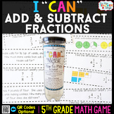 5th Grade Adding and Subtracting Fractions Game | 5th Grade Math Centers