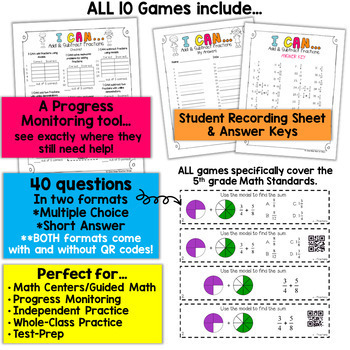 5th Grade Math Centers | 5th Grade Math Games BUNDLE