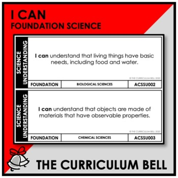 I CAN | AUSTRALIAN CURRICULUM | FOUNDATION SCIENCE