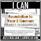 I CAN | AUSTRALIAN CURRICULUM | FOUNDATION TO YEAR 2 GERMAN (F- Y10)