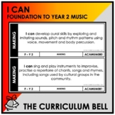 I CAN | AUSTRALIAN CURRICULUM | FOUNDATION TO YEAR 2 MUSIC