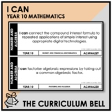 I CAN | AUSTRALIAN CURRICULUM | YEAR 10 MATHEMATICS
