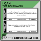 I CAN | AUSTRALIAN CURRICULUM | YEAR 3 MATHEMATICS