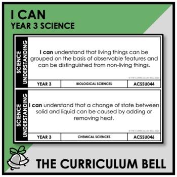 I CAN | AUSTRALIAN CURRICULUM | YEAR 3 SCIENCE