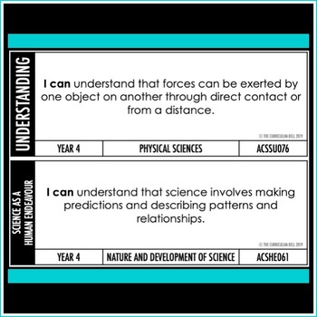 I CAN | AUSTRALIAN CURRICULUM | YEAR 4 SCIENCE