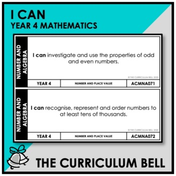 I CAN | AUSTRALIAN CURRICULUM | YEAR 4 MATHEMATICS