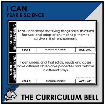 I CAN | AUSTRALIAN CURRICULUM | YEAR 5 SCIENCE