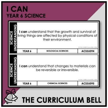 I CAN | AUSTRALIAN CURRICULUM | YEAR 6 SCIENCE