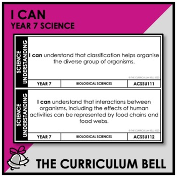 I CAN | AUSTRALIAN CURRICULUM | YEAR 7 SCIENCE