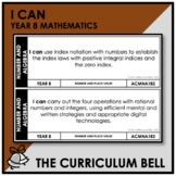 I CAN | AUSTRALIAN CURRICULUM | YEAR 8 MATHEMATICS