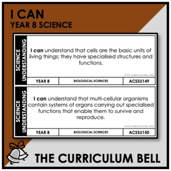 I CAN | AUSTRALIAN CURRICULUM | YEAR 8 SCIENCE