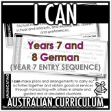 I CAN | AUSTRALIAN CURRICULUM | YEARS 7 AND 8 GERMAN (Y7 ENTRY)