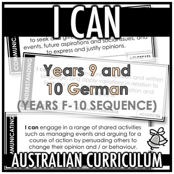 I CAN | AUSTRALIAN CURRICULUM | YEARS 9 AND 10 GERMAN (F - Y10)
