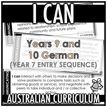 I CAN   AUSTRALIAN CURRICULUM   YEARS 9 AND 10 GERMAN (Y7 ENTRY)