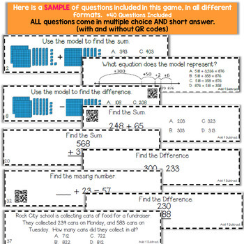 3rd Grade Addition and Subtraction within 1,000 Game | 3rd Grade Math Centers