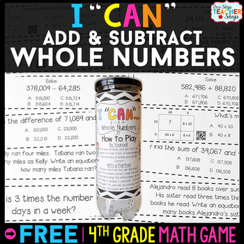 4th Grade Addition and Subtraction with Whole Numbers | 4th Grade Math Centers