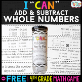 4th Grade Addition and Subtraction with Whole Numbers | 4t