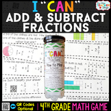 4th Grade Adding and Subtracting Fractions Game | 4th Grade Math Centers