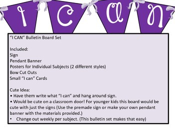 """""""I CAN"""" Bulletin Board Set/ Poster / Inspirational / Purple / Bows"""