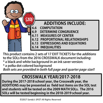 I CAN CROSSWALK ADDITIONS STATEMENTS VIRGINIA SOL MATH GRADE 6