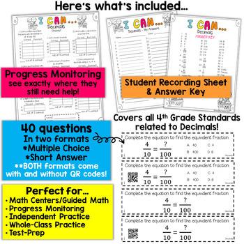 4th Grade Decimals Game | 4th Grade Math Centers