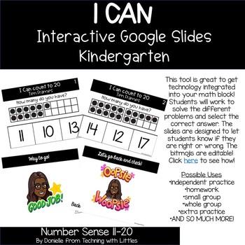 I CAN Count 11-20 Google Interactive Math Slides for Kindergarten