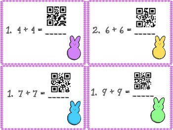 Addition Tasks Cards with QR Answers  (Kindergarten - First Grade)